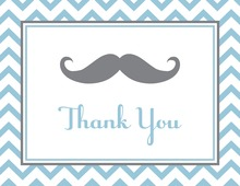 Little Mustache Blue Chevrons Thank You Cards