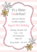 Glitter Snowflakes Pink Stripes Birthday Invitations