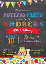 Pottery Party Chalkboard Invitations