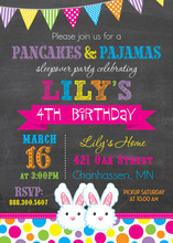 Bunny Slippers Chalkboard Birthday Invitations