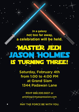 Lightsaber Space Battle Birthday Party Invitations