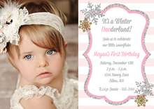 Glitter Snowflakes Pink Stripes Photo Invitations