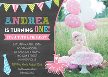 Ties Tutus Photo Birthday Party Invitations
