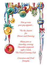 Bright Ornament Display Holiday Invitations