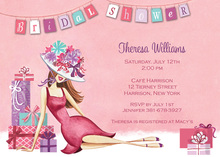 Lounging Lady Banner Bridal Shower Invitations