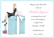 Blonde Bride on Gift Box Bridal Shower Invitations
