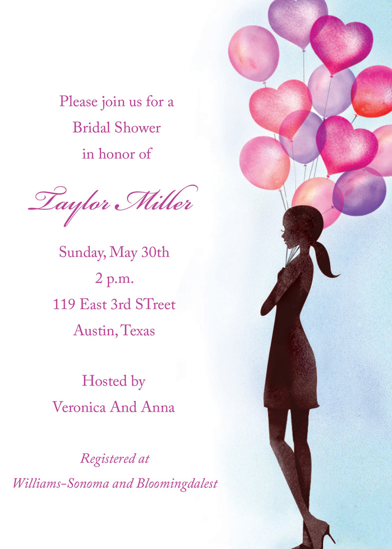 Party Balloon Girl Bridal Shower Invitations