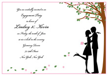 Pink Petals Silhouette Couple Invitations