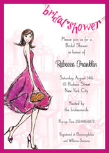 Fun Pink Walking Bride Bridal Shower Invitations
