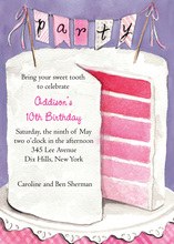 Multi Layered Pink Party Cake Invitation