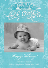 Baby It's Cold Outside Stylish Blue Photo Cards