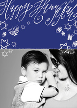 Blue Hanukkah Chalkboard Photo Cards