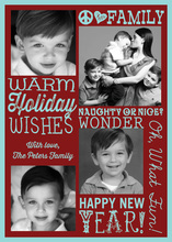 Warm Holiday Wishes Blue Photo Cards