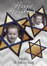Happy Hanukkah Gilltery Gold Photo Cards