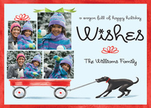 Holiday Wagon with Black Dog Photo Cards