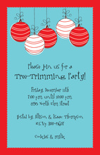 Red Striped Ornaments Bulbs Invitation
