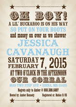 Sweet Rustic Baby Blue Shower Invitations
