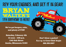 Red Monster Truck Boy Birthday Invitations