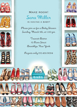 Stylish Shoe Closet Baby Boy Invitations