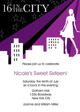 Sixteen in the City Birthday Invitations