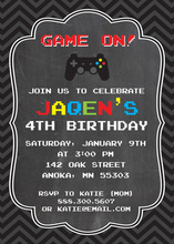 Dark Chevrons Chalkboard Video Game Birthday Invites