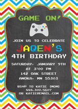Colorful Chevrons Chalkboard Video Game Invitations
