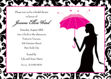 Pink Umbrella Silhouette Bridal Invitations