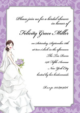 Vintage Bride Two-tone Purple Border Bridal Invitations