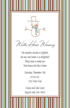 Stripe Snowman Invitations