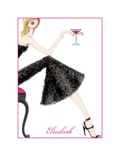 Cocktail Girl Blonde Thank You Cards