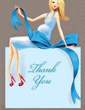 Expecting a Big Gift Boy Blonde Lady Thank You Cards