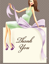 Expecting a Big Gift Neutral Brunette Lady Thank You Cards