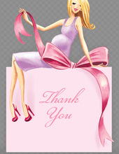 Expecting a Big Gift Girl Blonde Lady Thank You Cards
