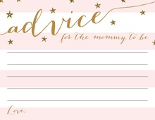 Gold Glitter Pink Stripes Advice Cards