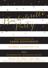Black Stripes Gold Glitter Bachelorette Party Invitations