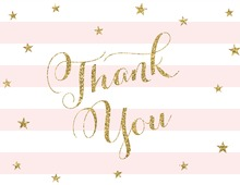 Pink Stripes Gold Glitter Thank You Cards