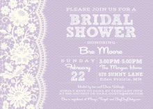 White Lace On Lavender Chevrons Bridal Invitations