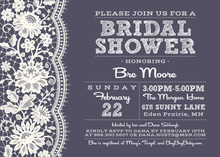 Beautiful White Lace Midnight Bridal Shower Invitations