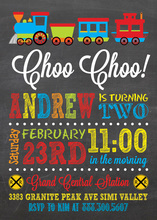 Choo Choo Train Chalkboard Birthday Invitations
