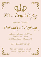 Royal Princess Pink Gold Glitter Birthday Invitations