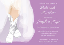 White Wedding Boots Lilac Bridal Shower Invitations