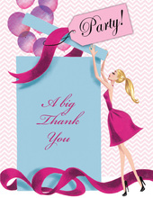 Balloon Gift Girl Blonde Lady Thank You Cards