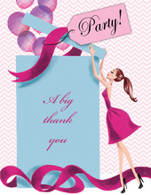 Balloon Gift Girl Brunette Thank You Cards