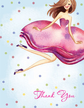 Bride With Confetti Brunette Girl Thank You Cards