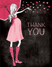 Stylish Shower Chalkboard Girl Thank You Cards