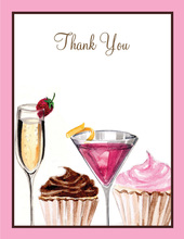 Cupcakes and Cocktails Thank You Cards