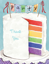 Colorful Party Cake Thank You Cards