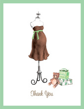 Expecting Dress Form Green Thank You Cards