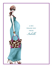 Fashionable Mom Blue Thank You Cards