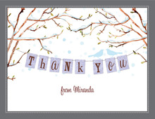 Baby Bird Winter Season Thank You Cards